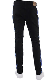 Side Stripe Print Skinny Fit Denim Black - Blue (M4701DB) - Zamage