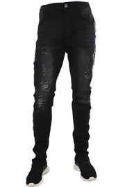 Ripped Skinny Fit Denim Track Pants Black (M4384R2DA)