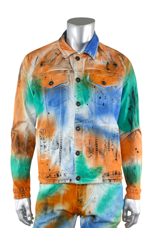 Moto Multi Color Denim Jacket (M6167D) - Zamage