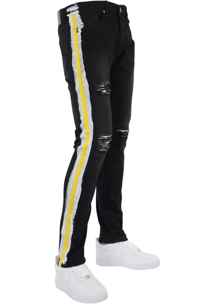 Side Paint Stripe Athletic Skinny Fit Track Denim Black - Yellow (M4700D)