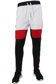 Striped Color Block Track Pants Black - White - Red (82-412)