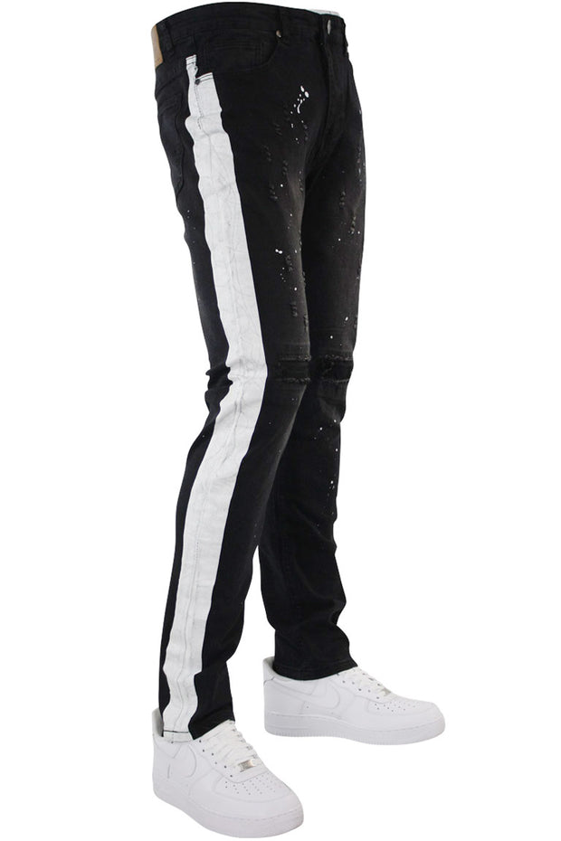 Side Stripe Paint Splatter Denim Black (M4683D) - Zamage