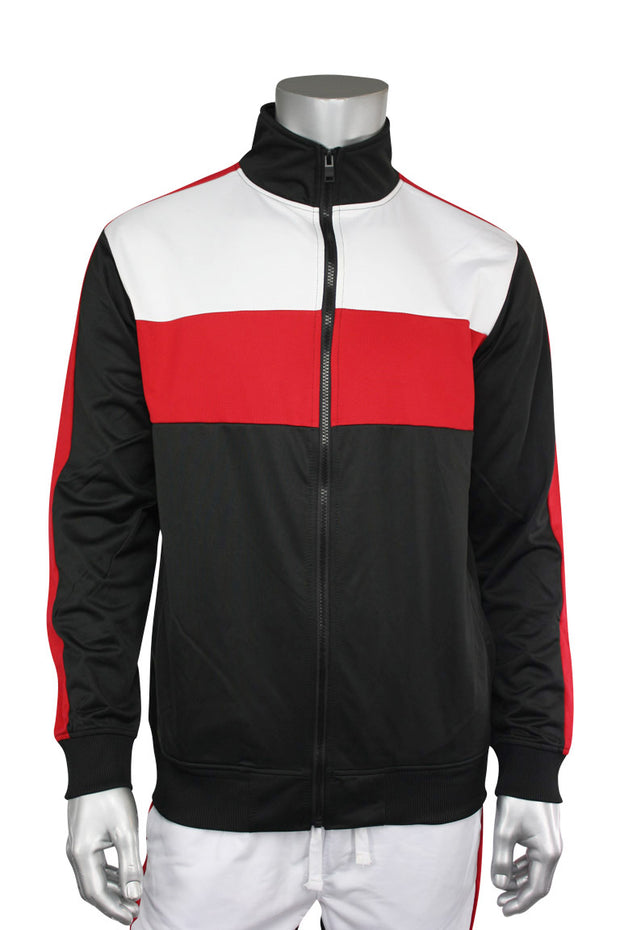 Striped Color Block Track Jacket Black - White - Red (82-312)