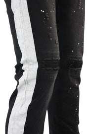 Side Stripe Paint Splatter Denim Black - White (ZCM4683D) - Zamage