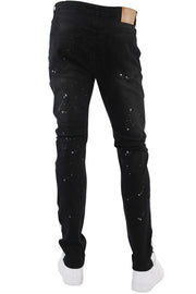 Side Stripe Paint Splatter Denim Black (M4683D)