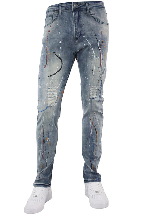 Paint Splatter Skinny Fit Denim Light Wash (M4789D)