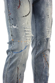 Paint Splatter Skinny Fit Denim Light Wash (M4789D) - Zamage