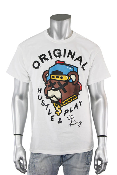 Hustle & Play Bear Tee White (9555P1) - Zamage