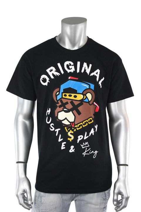 Hustle & Play Bear Tee Black (9555P1)