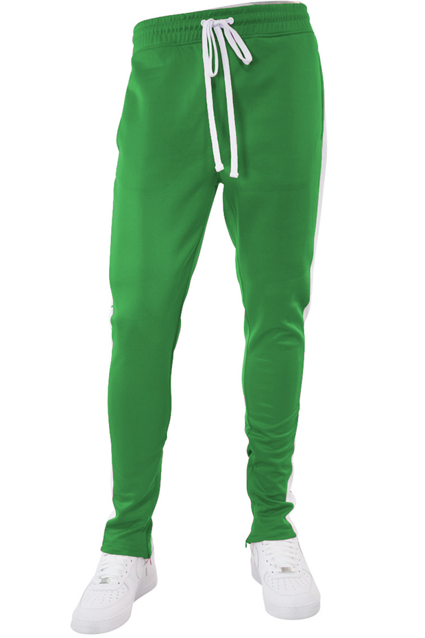 Solid One Stripe Track Pants Kelly Green - White (100-402) - Zamage