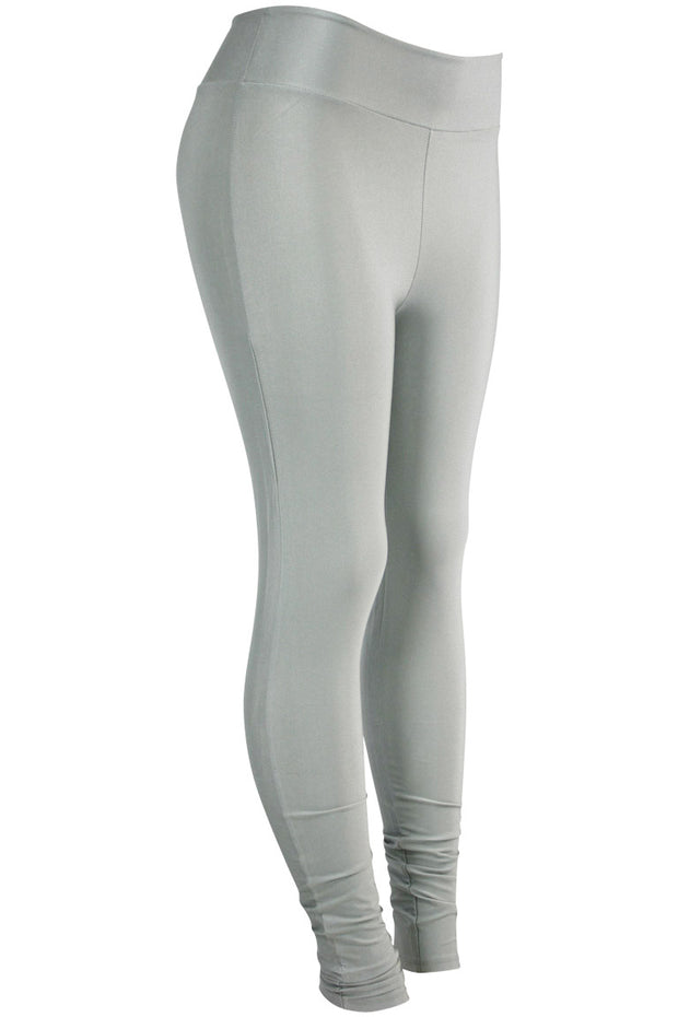 Women's High Waisted Leggings Silver (LG901) - Zamage