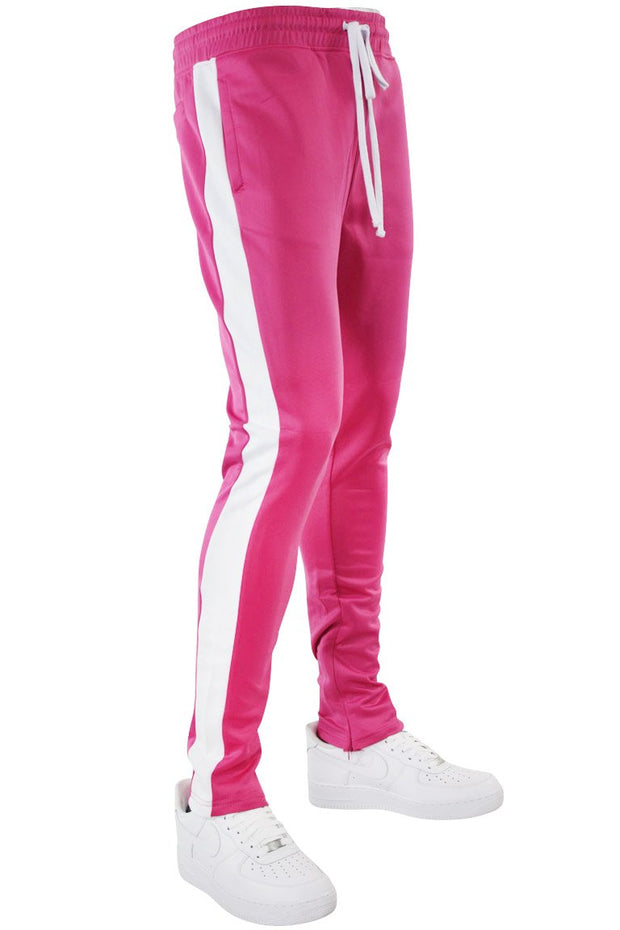 Solid One Stripe Track Pants Fuchsia - White (100-401) - Zamage