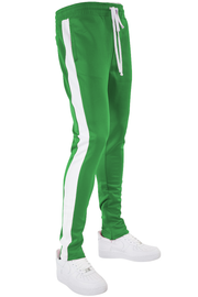 Solid One Stripe Track Pants Kelly Green - White (100-402)