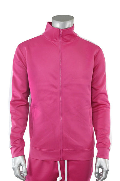 Solid One Stripe Track Jacket Fuchsia - White (100-501)