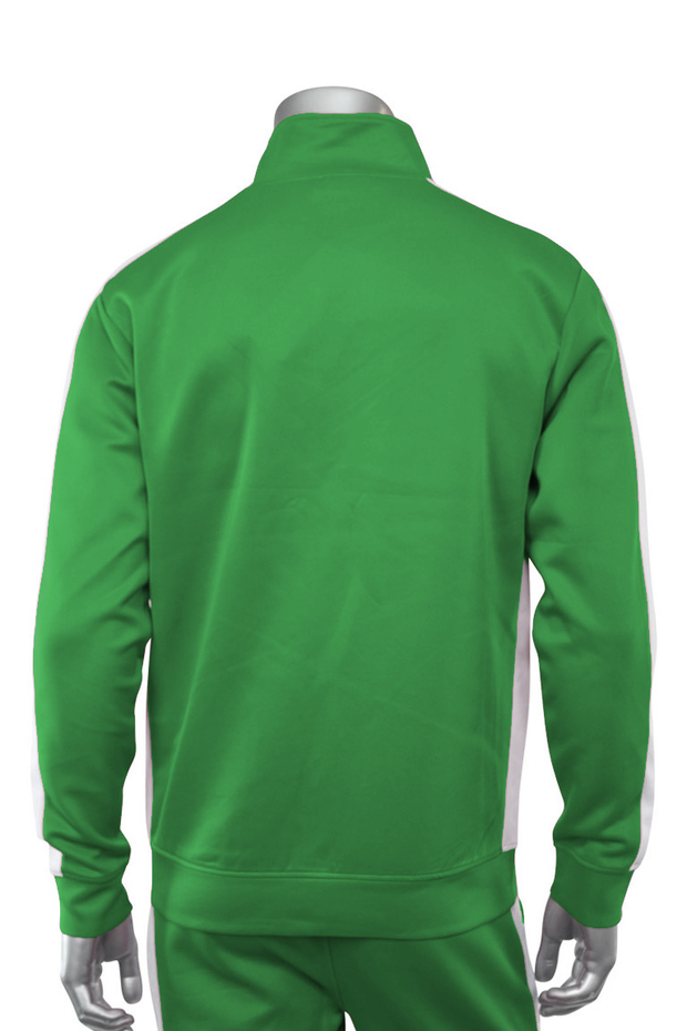 Solid One Stripe Track Jacket Kelly Green - White (100-502) - Zamage