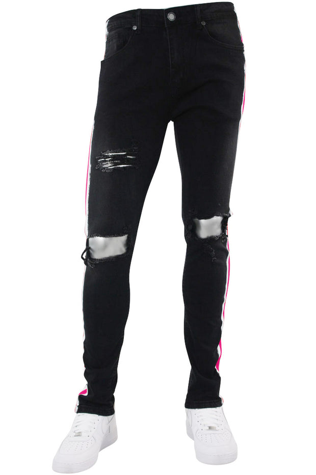 Side Paint Stripe Athletic Track Denim Black - Pink (M4700D) - Zamage