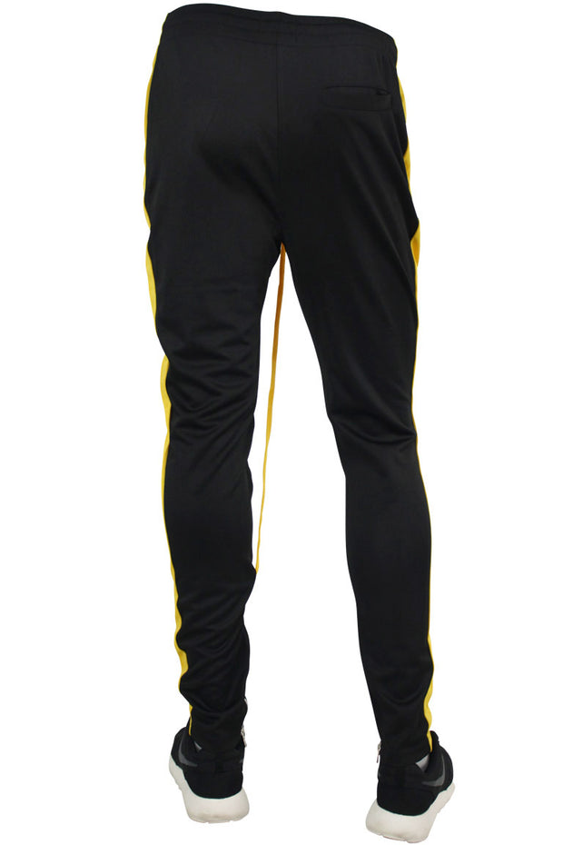 Side Stripe Zip Pocket Track Pants Black - Yellow (ZCM4418PS)