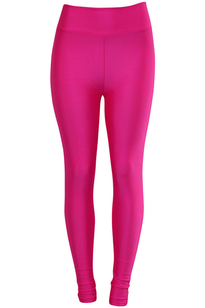 Women's High Waisted Leggings Neon Pink (LG901) - Zamage