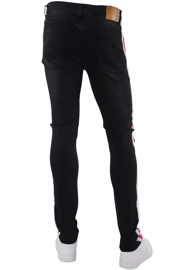 Side Paint Stripe Athletic Track Denim Black - Pink (M4700D)