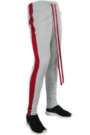 Side Stripe Zip Pocket Track Pants Grey - Red (ZCM4418PS)