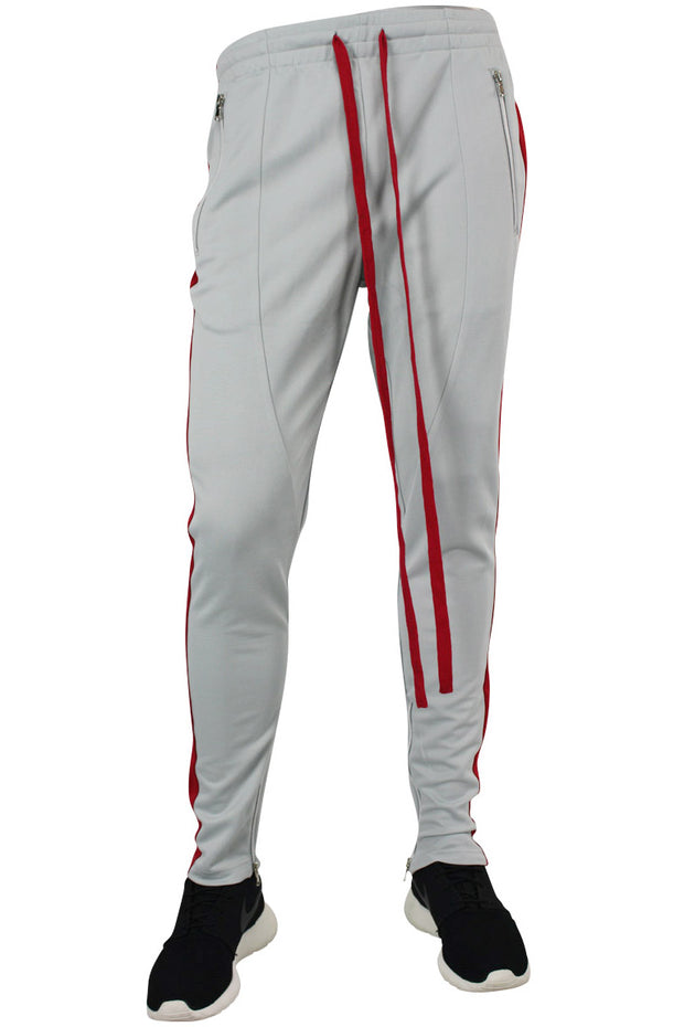 🔥Side Stripe Zip Pocket Track Pants Grey - Red (ZCM4418PS)