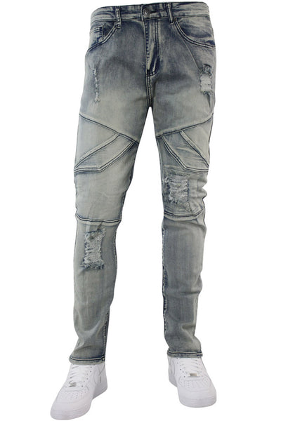 Slant Cargo Pocket Skinny Fit Denim Antique Blue Wash (M4717D) - Zamage