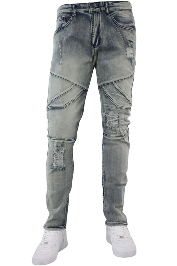 Slant Cargo Pocket Skinny Fit Denim Antique Blue Wash (M4717D)