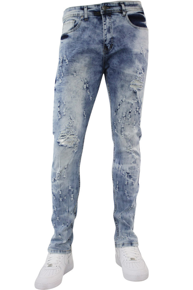 Paint Splatter Skinny Fit Denim Blue Wash (M4763D)