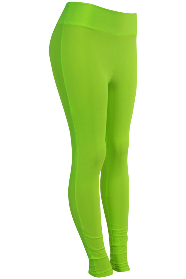 Women's High Waisted Leggings Neon Green (LG901) - Zamage