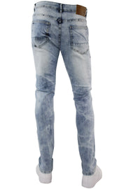 Paint Splatter Skinny Fit Denim Blue Wash (M4763D) - Zamage