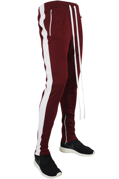 Side Stripe Zip Pocket Track Pants Burgundy - White (ZCM4418PS)