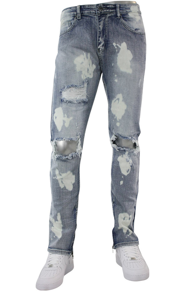 Premium Ankle Zip Skinny Fit Denim Bleach Splatter (M4754D) - Zamage