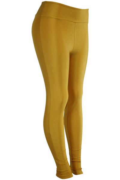 Women's High Waisted Leggings Mustard (LG901) - Zamage