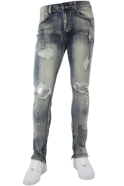 Pieced Ankle Zip Skinny Fit Denim Dirty Bleach (M4739D)