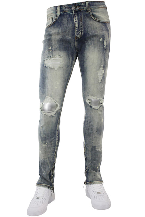 Pieced Ankle Zip Skinny Fit Denim Dirty Bleach (M4739D) - Zamage