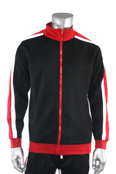 Shane Stripe Track Jacket Black (111-505) - Zamage