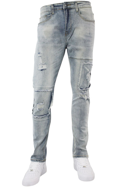 Destroyed & Repaired Skinny Fit Denim Vintage Wash (M4779D) - Zamage