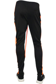 Side Stripe Zip Pocket Track Pants Black - Orange (ZCM4418PS)
