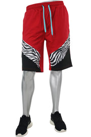French Terry Print Shorts Red - Black (19514) - Zamage