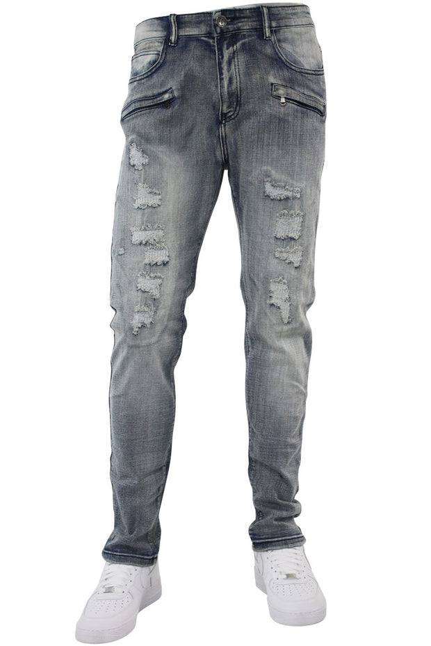 Ripped & Repaired Skinny Fit Denim Antique Blue (M4389DB)
