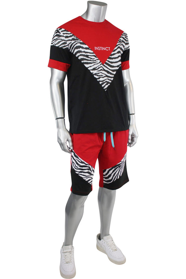 Print Stripe Tee Red - Black (19214)