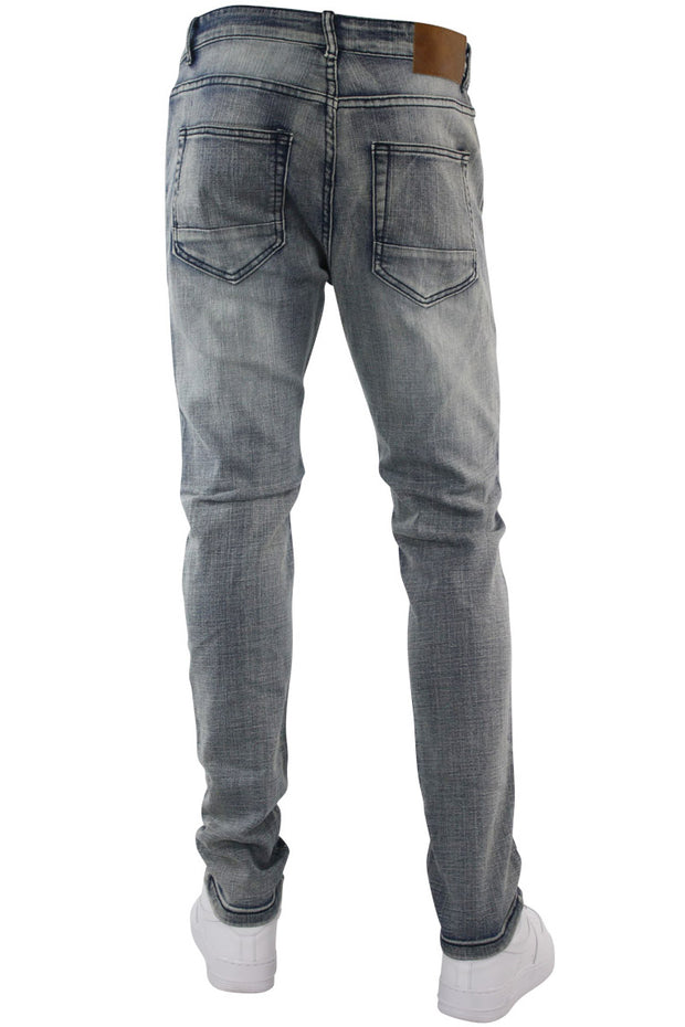 Ripped & Repaired Skinny Fit Denim Antique Blue (M4389DB) - Zamage