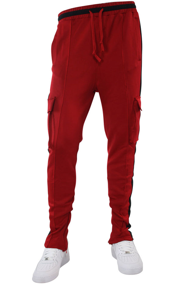 Side Stripe Cargo Track Pants Red - Black (HF9625)
