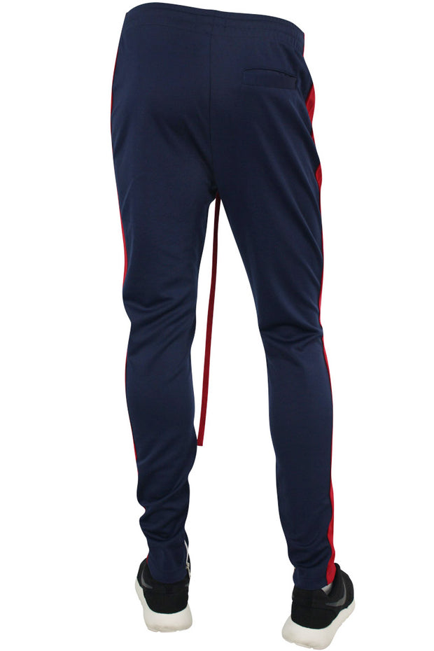 Side Stripe Zip Pocket Track Pants Navy - Red (ZCM4418PS)