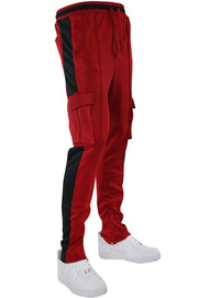 Side Stripe Cargo Track Pants Red - Black (HF9625) - Zamage