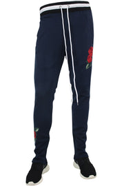 Side Stripe Rose Embroidered Track Pants Navy - White (P877)