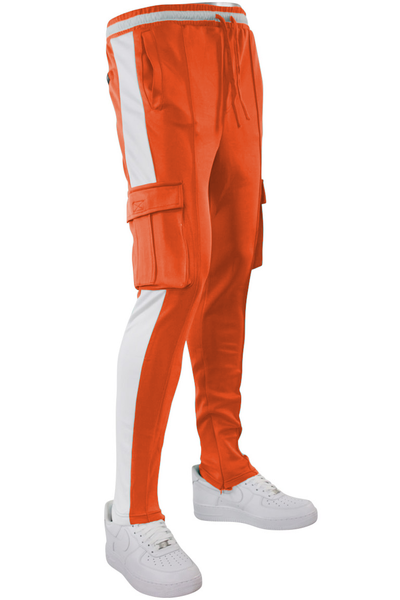 Side Stripe Cargo Track Pants Neon Orange - White (HF9625) - Zamage