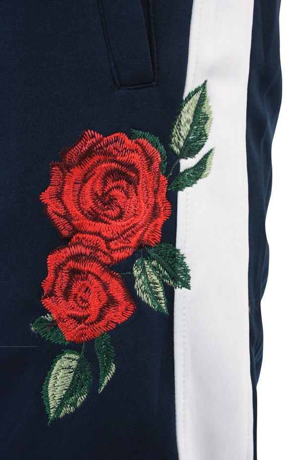 Side Stripe Rose Embroidered Track Pants Navy - White (P877 22S)