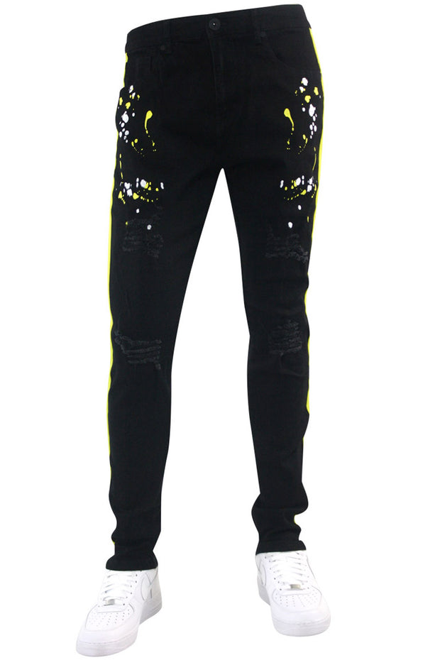Distressed Triple Side Stripe Paint Splatter Denim Black Wash - Yellow - White (HZW4228) - Zamage