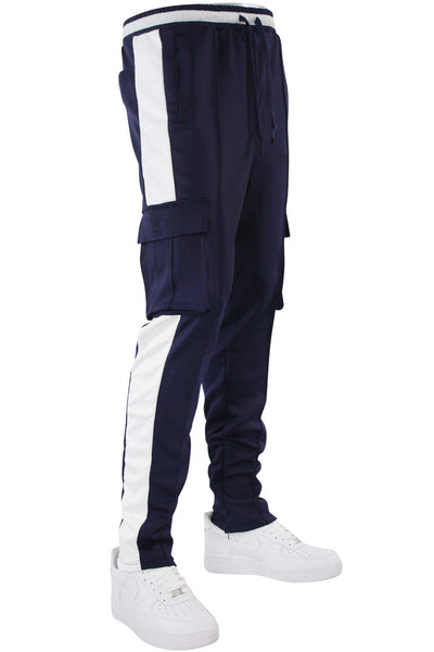 Side Stripe Cargo Track Pants Navy - White (HF9625)